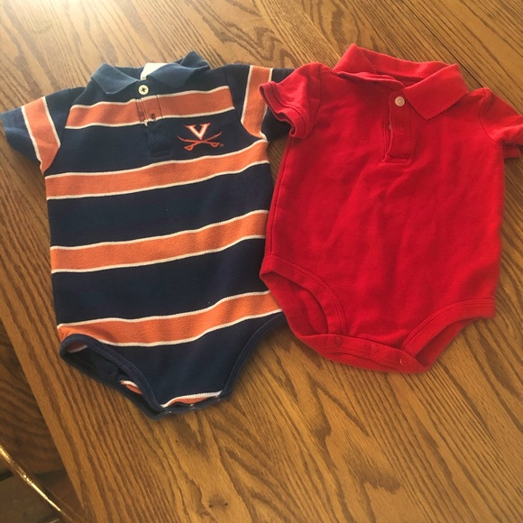 5/$20 Bundle of 2 collared onesies size 12 mo